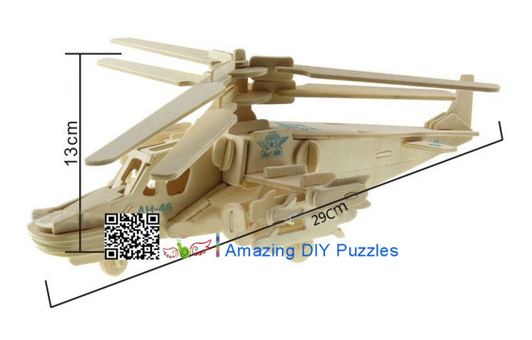 DIY toy-3D puzzle-Wooden KA-50 Black shark fighter