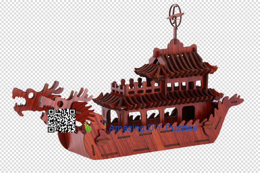 DIY toy-3D puzzle-Rosewood double dragon boat